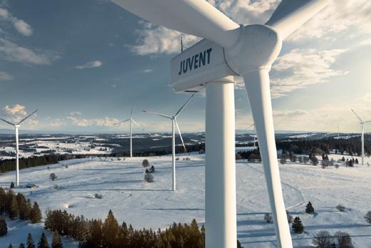 Das Windkraftwerk JUVENT hat 2016 einen Produktionsrekord erzielt © BKW