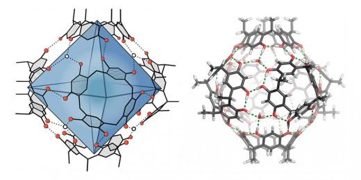 Die verwendete molekulare Kapsel in zwei unterschiedlichen Darstellungen: Links ist der etwa 1,4 Kubiknanometer grosse Hohlraum blau hervorgehoben. Rechts wird der Zusammenhalt der Kapsel durch Wasserstoffbrücken (grüne gestrichelte Linien) ersichtlich. (Bild: Universität Basel, Departement Chemie)